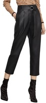 BCBGMAXAZRIA High-Rise Faux Leather Cropped Pants