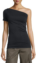 Helmut Lang One-Shoulder Stretch-Knit Tee, Black