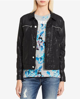 Calvin Klein Jeans Coated Zip-Pocket Denim Jacket
