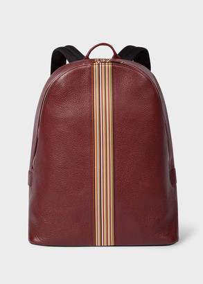 Men's Brick Red Leather Signature Stripe Backpack