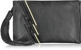 Roberto Cavalli Evening Lightning Patchwork Black Leather Clutch