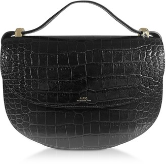 A.P.C. Dark Green Croco Embossed Leather Geneve Crossbody Bag