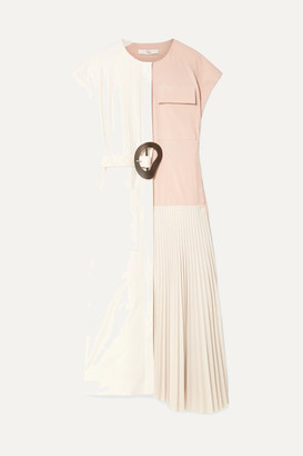 Tibi Edith Color-block Pleated Crepe Midi Dress - Blush