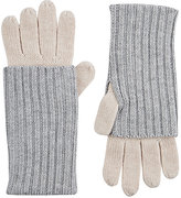 Barneys New York WOMEN'S LAYERED-LOOK STOCKINETTE-STITCHED GLOVES-GREY
