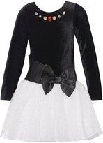 RMLA Little Girls Velvet Jeweled Top White Sparkly Tulle Christmas Dress