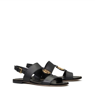 Tory Burch MILLER METAL-LOGO TWO-BAND SANDAL, LEATHER