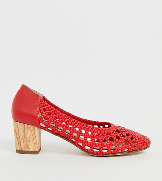 Miss Selfridge woven heeled shoes in red