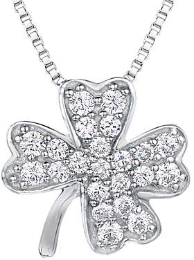 Jools by Jenny Brown Cubic Zirconia Clover Necklace, Silver