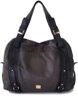 Kooba Taupe & Black Leather Tote Bag