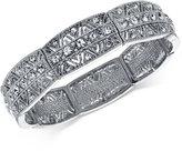 2028 Silver-Tone Multi-Crystal Stretch Bracelet