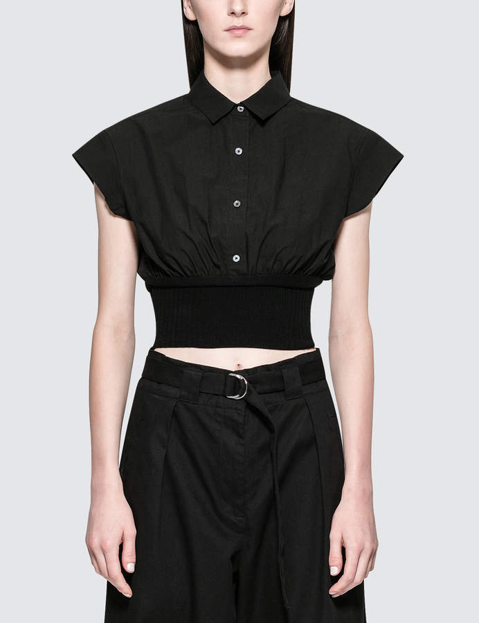 Alexander Wang Washed Cotton Poplin S/S Top With Rib Combo