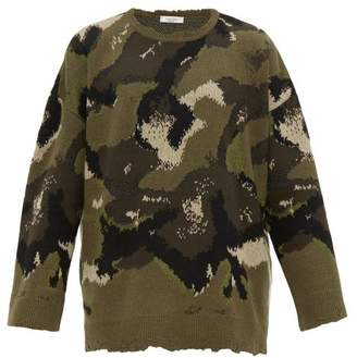 Valentino Camouflage Jacquard Virgin Wool Sweater - Mens - Khaki Multi