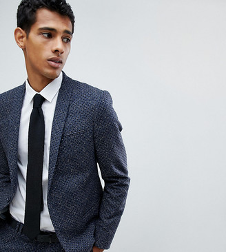 Noak Skinny Suit Jacket In Polka Dot Fleck-Navy