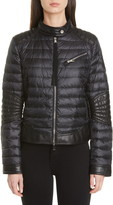 Moncler Leather Moto Detail Quilted Jacket