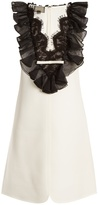 Giambattista Valli V-neck ruffled lace-trim crepe dress