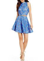 Jodi Kristopher Mock Neck Lace Two-Piece Dress