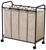 Household Essentials Rolling Quad Sorter Laundry Hamper with Natural Polyester Bags, Antique Bronze Frame