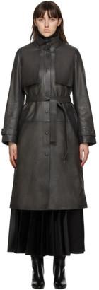 Yves Salomon Black Leather Button-Down Coat