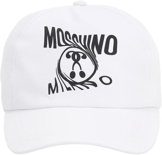 Moschino Logo Print Cotton Gabardine Baseball Hat
