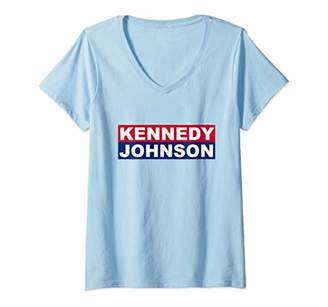 JFK Womens Campaign John F Kennedy Johnson 1960 Election Democrat V-Neck T-Shirt