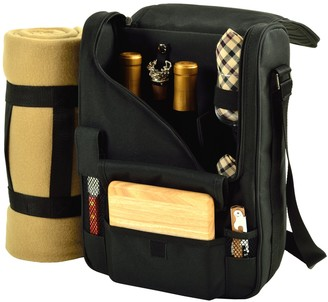 Picnic at Ascot Wine Carrier Deluxe with Glass Wine Glasses Blanket Accessories for Two