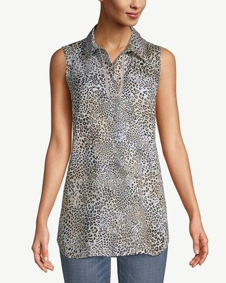 No Iron Sleeveless No-Iron Linen Animal-Print Tunic