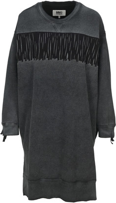 MM6 MAISON MARGIELA Mm6 Oversize Fringed Sweatshirt Dress