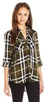 My Michelle Juniors Plaid Button up Shirt with Roll Tab Sleeves and Zipper Front Pockets