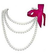 "Fun/Flirty White Pearl 60"" Necklace with Removable Hot Pink/Azalea Ribbon - Faux Pearl Bridesmaid Jewelry"