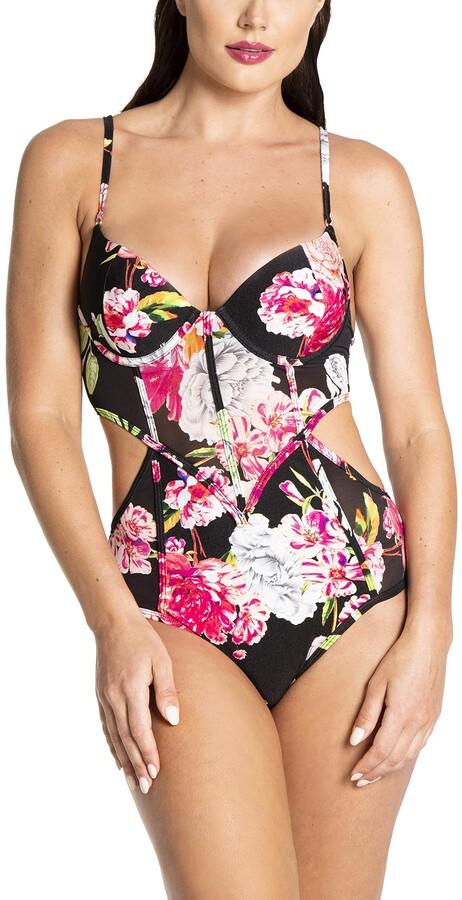 Z3652-ba3-sw femmes Monokini Maillot de bain mode Häkel simili noir Taille 40 Cup A//B