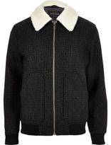 River Island MensGrey wool check fleece collar jacket
