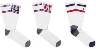 Polo Ralph Lauren Three-Pack Striped Stretch Cotton-Blend Socks
