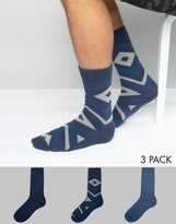 Asos Boot Socks With Geo Design 3 Pack
