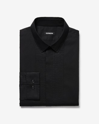Express Extra Slim Pleated Tuxedo Dress Shirt