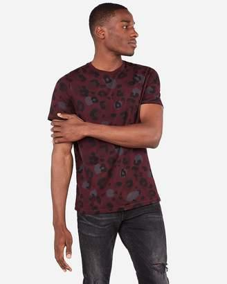 Express Leopard Print Crew Neck Jersey T-Shirt