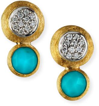Marco Bicego 18k Gold Jaipur Two-Stone Stud Earrings, Turquoise/Diamonds