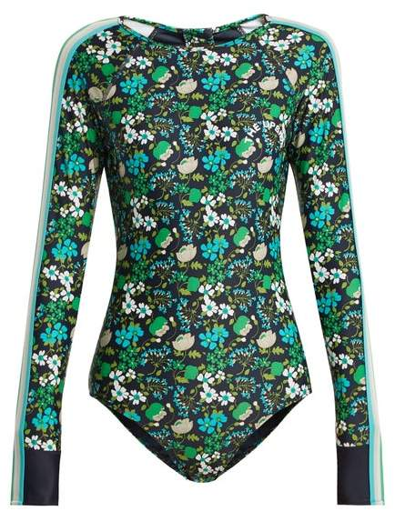 The Upside Floral Print Performance Paddle Suit - Womens - Navy Print