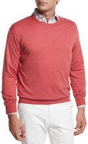 Peter Millar Crown Cotton/Silk Crewneck Sweater, Blue
