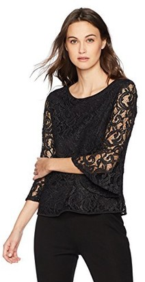 Adrianna Papell Women's Foiled Lace Top with Long Bell Sleeve