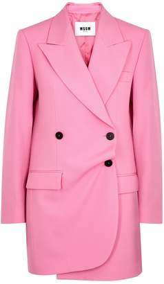 MSGM Pink Double-breasted Wool Blazer