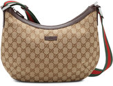 Gucci Original GG Dipped Canvas Messenger Bag with Signature Web Strap, Brown