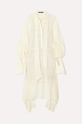 Rokh Tie-detailed Cotton-blend Lace Dress - Ivory