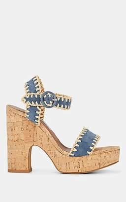 Tabitha Simmons Women's Elena Whip Suede Cork Platform Sandals - Cadblksnr