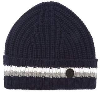 Bogner Logo Roundel Jacquard Striped Cashmere Beanie Hat - Womens - Navy