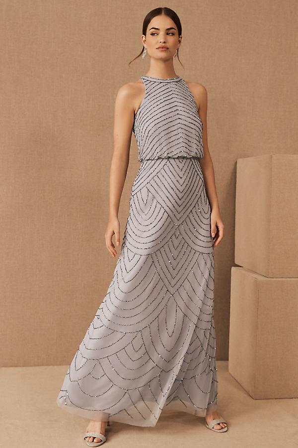Adrianna Papell Madigan Dress By in Grey Size 2