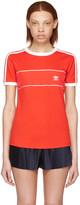 adidas Red Satin Insert Logo T-Shirt