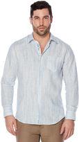 Cubavera 100% Linen Long Sleeve Printed Placket Shirt