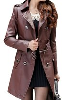 Helan Apparel Helan Women's Flexible Zipper PU Leather Trench Coat US