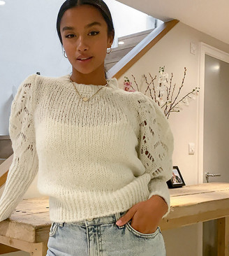 ASOS DESIGN Petite jumper with pointelle sleeves and neck detail in cream