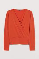 H&M Draped Wrapover Blouse - Orange